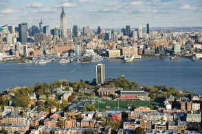 Aerial view of campus and Manhattan