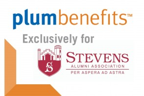 PlumBenefits logo with the Stevens Alumni Association logo