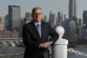 President Farvardin on campus with NYC in the background
