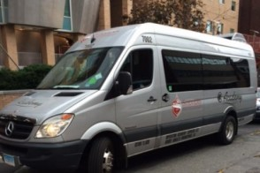 One of many campus shuttles