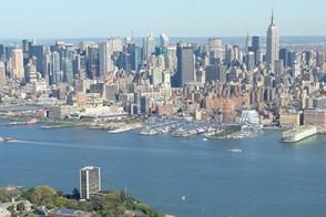 View of the Manhattan skyline and the Stevens campus.