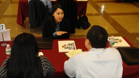 Student talking to recruiter