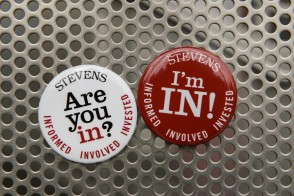 Picture of buttons given to alumni and friends who are informed, involved, and invested in Stevens