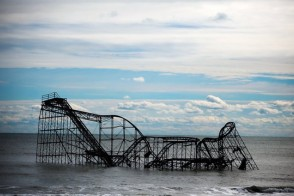 Roller coaster destroyed by Hurricane Sandy in ocean