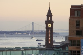 Hoboken clock tower and the Hudson River