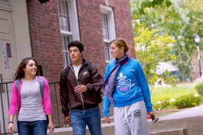 Three Stevens students walking on campus