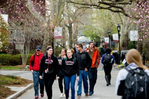 students walking up WitPenn walk on campus