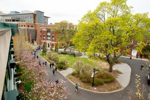 Campus green space with students walking