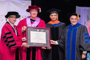 President Nariman Farvardin, Trustees Chairman Stephen T. Boswell, Dr. Kishore Pochiraju and Provost Christophe Pierre at Graduate Commencement