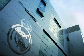 Photo of Real Madrid logo on building