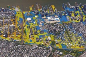 Computer-generated map of Hoboken flooding during Hurricane Sandy