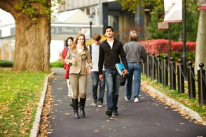 Students walking on the Stevens campus