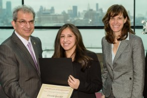 Student with Stevens President, Nariman Favardin and Dawn Zimmer, the mayor of Hoboken