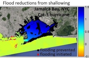 topographical map showing results of flood reduction at Jamaica Bay