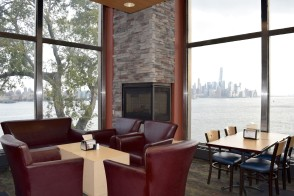 View of Manhattan from tables in Pierce Dining Hall