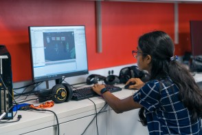 Student creating a video game from scratch.