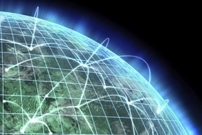 A network with a series of point connecting a globe.