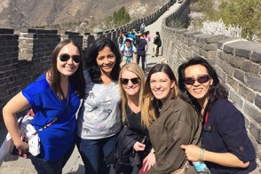 A group of female students at the Great Wall, in China.