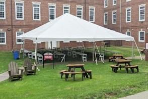 Open study tented area for students