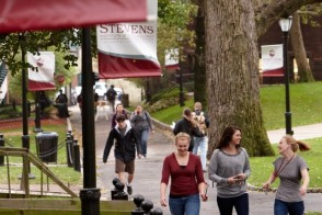 Students strolling along WittPenn Walk on Stevens campus