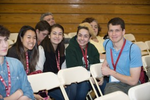 Students smiling at the camera during admitted students day