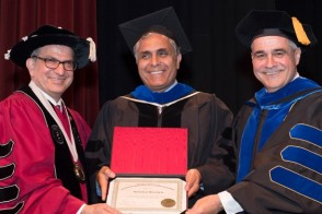 President Farvardin, Vice Provost Dehghani and Provost Pierre at Faculty Awards Ceremony.