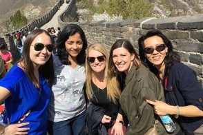 Five women in the Executive MBA program pose at the Great Wall of China.