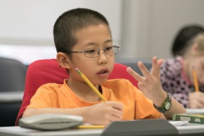 A student counting.