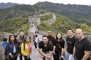 A group of master's business students at the Great Wall, in China.