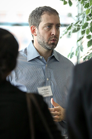 A manager with TD Ameritrade speaks with Stevens students and Trading Day participants during the annual competition at the Hoboken campus.