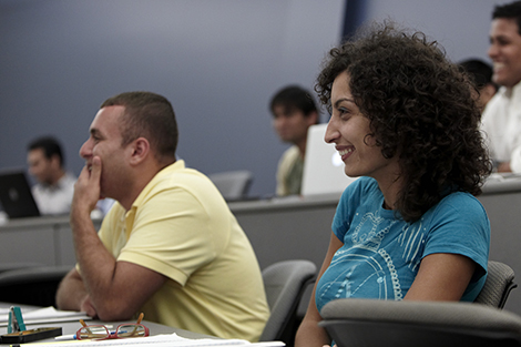 Students listen as Dr. Gary Lynn discusses technology-driven opportunities in marketing to a graduate business class.
